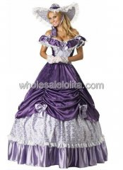 Vintage Purple Southern Belle Civil War Ball Gown Period Dress Reenactment Clothing