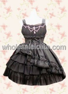Black Classic Ruffles Cotton Punk Lolita Dress