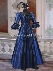 "19th Century Royal Blue Taffeta & Black Lace Victorian Style ""Odette"" Handmade Dress"