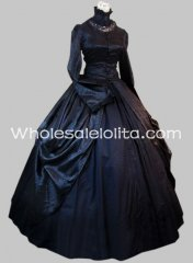 Gothic Black Brocade and Cotton Victorian Period Dress Halloween Masquerade Ball Gown