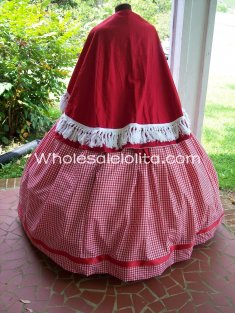 Red Civil War Reenactment Dickens Victorian Period Dress Christmas Carol Costume