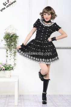 Black Layered Round Neck Cotton Punk Lolita Dress