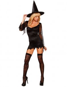 Black Female Spider Witch Halloween Party Dress