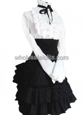 Cheap Charming Black and White Ruffled Cotton Lolita Suit