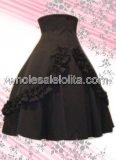 Black Ruffled Long Cotton Lolita Skirt