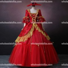 Red Print Rococo Marie Antoinette European Court Wedding Dress Historical Renaissance Ball Gowns