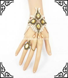 Gothic Retro Court Coffee Lace Golden Bronze Bracelet & Ring