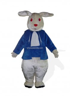 Red Eyes Blue Clothes Bunny Costume for Adult
