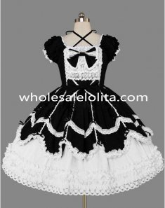 Black and White Lace Gothic Lolita Dress Costume Clothings