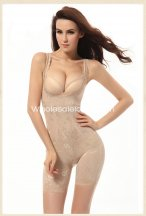 Skin Color Open-bust Mid-Thigh Body Wrap Shapewear