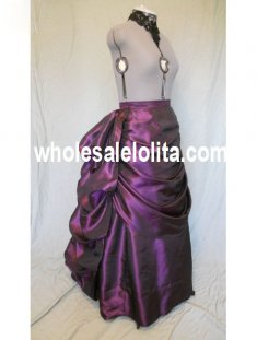 Purple Satin Victorian Bustle Skirt
