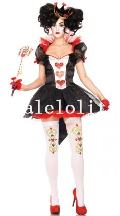 Alice in Wonderland Queen of Hearts Halloween Costume Party Dress