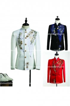 High-end Customized Black/Red/White Mens Prince Suits Medieval Mens Period Costume