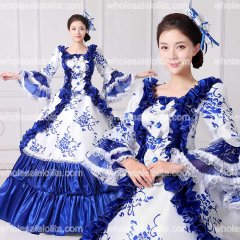 Brand New Lace Printed Marie Antoinette Masquerade Ball Gown Medieval Southern Rococo Belle Dress Theatrical Clothing