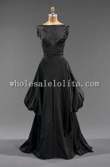 Late 1940s Black Silk Sleeveless Evening Dress