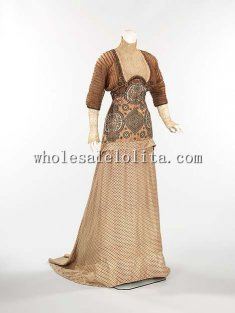 1910s Early 20th Century Edwardian Fashion French Silk Evening Dress