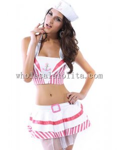 Sweet Pirate Kawaii Pink in White Costume