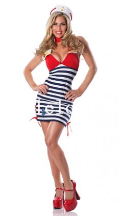 Halloween Red and Blue Stripes Sexy Lady Sailor/Navy Costume Role Play Dress