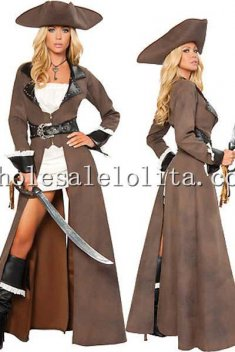Sexy Pirate Deluxe Brown Full Length Overcoat