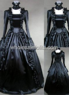 18th Century Theme Costume Gothic Black Marie Antoinette Period Dress Performance Clothing Halloween Costume