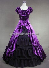 Gothic Black and Purple Victorian Civil War Southern Belle Gown Dress