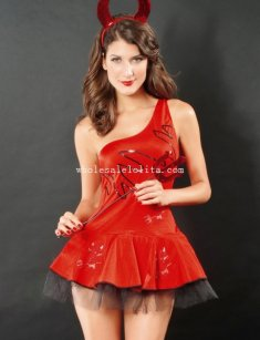 Sexy Red One Shoulder Adult Devil Halloween Costume Dress
