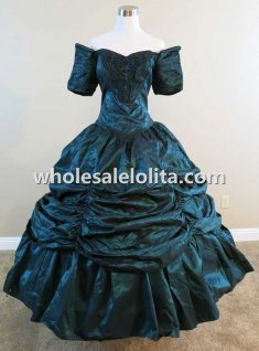 Off-the-shoulder Dark Green Satin Victorian Civil War Period Dress Reenactment Theatre Costume Attire