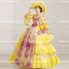 18th Century Rococo Style Marie Antoinette Inspired Prom Dress Yellow Wedding Ball Gown