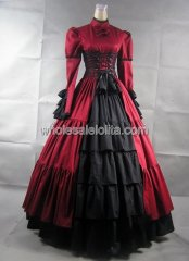 Gothic Red and Black Gothic Victorian Prom Dress Halloween Masquerade Ball Gown