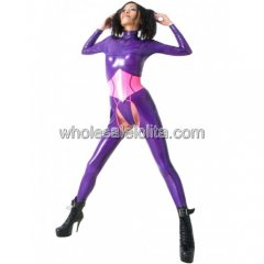 Purple and Pink Latex Catsuit with Open Crotch