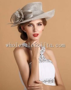 2014 Summer British Style Flax Flower Elegant Ladies Dress Hat