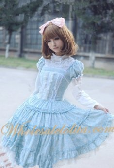 Sweet Blue Floral Corduroy Lolita Dress with Removable Peplum