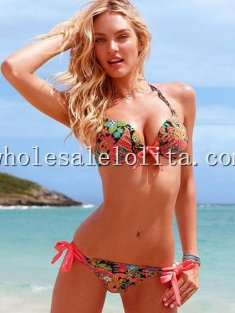 Beach Coloured Print Sexy Halter Bikini Top String Bottom