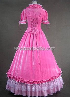 Sweet Pink Victorian Lolita Long Cotton Prom Dress Gown Reproduction Costume