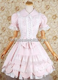 Pink Short Sleeves Lace Bow Cotton Sweet Lolita Dress