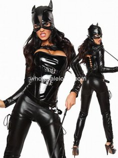 New Black Elastic PVC Costume Suits