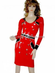 Black and Red Latex Female Military Uniform Dress