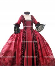 Top Sale 18th Century Marie Antoinette Red Victorian Dress Prom/Wedding Dress Ball Gown