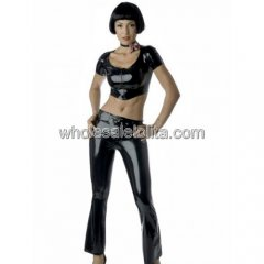 Two Pieces Black Latex Jacket and Pants