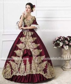 Classic 18th Century Marie Antoinette Inspired Dress Wedding Masquerade Gown Reenactment Burgundy