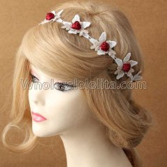 Halloween Lace and Rose Hair Headband Masquerade Accessories