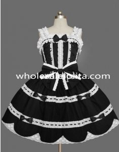 Black and White Lace and Bow Sleeveless Gothic Lolita Dress Costume