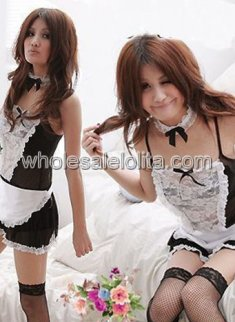 Seductive Black and White Honey Maid Costume