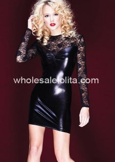 Hot Sexy PVC & Lace Club Dress