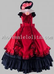 Gothic Black and Red Victorian Civil War Southern Belle Ball Gown Prom Dress
