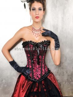 Dark Red and Black Print Bow Satin Overbust Corset
