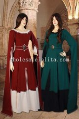 Red/Green Medieval Costume Gown 100% Natural Cotton Handmade Maiden Gown Renaissance