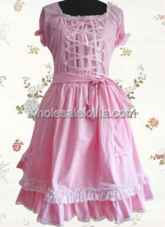 High Quality Short Sleeves Pink Cotton Sweet Lolita Dress