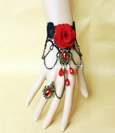 Gothic Black and Red Rose Crystal Ladies Bracelet and Ring