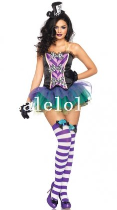 New Arrival Alice in Wonderland Female Mad Hatter Halloween Costume